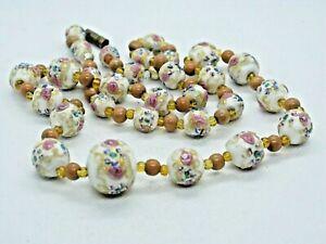 Vintage Venetian White Wedding Cake Glass Bead Necklace