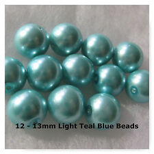 12 Glass Pearl Beads 13mm Round Spacer Beads Jewelry Findings Light Teal Blue