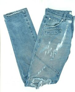 PIERRE BALMAIN Men's Distressed Denim Blue Jeans Zip Up Pants Actual Size 32X34
