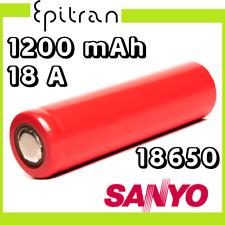 Batteria pila ricaricabile al a litio li-ion 3.7V 18650 1200mah Sanyo UR18650SA