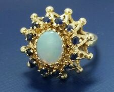 Vintage Handmade Opal and Sapphire Antique 14k Gold Luxury Cocktail Ring Size 5