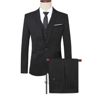 Mens 3PCS Soild Color Business Casual Wedding Size Plus One Button Top Slim Fit