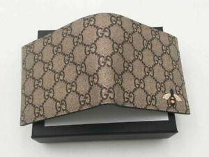 Mens Preowned GUCCI Genuine Leather Canvas ID Card Wallet Brown
