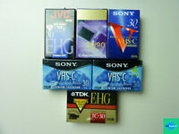 Lot of 6 New VHS-C Blank Video Cassettes Mixed - Sony, TDK, JVC, Radioshack