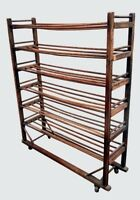 19TH C AMERICAN ANTIQUE OAK INDUSTRIAL SHOE RACK WITH SIX TIERS ~~ WINE RACK