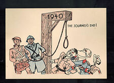 Mint WW2 England Anti Nazi Propaganda Postcard End of Journey Hitler at Gallows