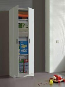 VITA Tall 2 Door + 4 Internal Shelf Utility Room White Storage Cupboard Modular