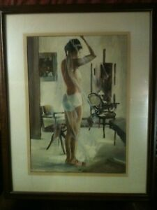 Watercolor Framed Painting Nude Original Signed Cape Cod listed artist