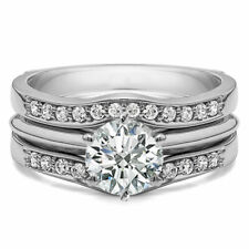 14K White Gold Over 2.30 Ct Matching Solitaire Enhancer Ring Set Contour Guard