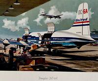 United Airlines Douglas DC-6A Original Vintage Aviation Art Print Poster, 1950s