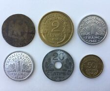 Lot of 6 French Coins 1,2 Franc 5,20,50 Centimes 1864 1939 1941 1943 1944 France