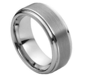 Free laser Engraving  8mm Tungsten Carbide Step Edge Brushed Wedding Band Ring