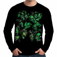 Velocitee Mens Long Sleeve T Shirt Zombie Pile Horror Evil Living Dead A18637