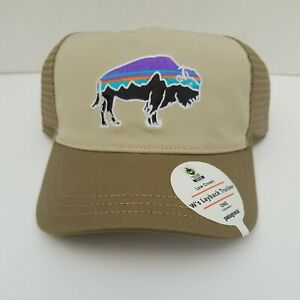 Patagonia Fitz Roy Layback Trucker Hat Womens/Unisex. Pelican And Light Olive.