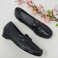 SAS Shoes Womens Easier Black Leather Loafers Walking Shoes 7.5 N Slip On Wedge