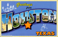 "5"" HOUSTON TEXAS VINTAGE POSTCARD STYLE BUMPER HELMET STICKER DECAL USA MADE"