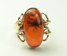 Ladies 18K Yellow Gold Amber Ring With Mosquito Size 5 1/2