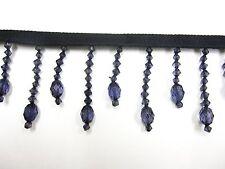 10mt Azul Marino Cortina Negra Trim 5,5 cm de cristal de textil con efecto de recorte Trenza