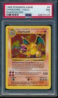 PSA 7 CHARIZARD 1999 Pokemon Base Unlimited SHADOWLESS #4/102 Holo Rare NR MINT