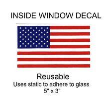 "USA United States Flag Inside Window Decal - 5"" x 3"""