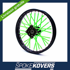 COUVRE RAYONS VERT FLUO MOTOCROSS MX ENDURO ROUE JANTE SPOKE COVERS SKINS PIT