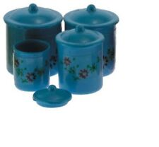 Dollhouse Miniatures 1:12 Scale Blue Canister Set with Decals, 4pc #Im65302