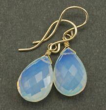 14k Gold Opalite Earrings Faceted Pear Teardrops Dangle Drops Rainbow Sterling