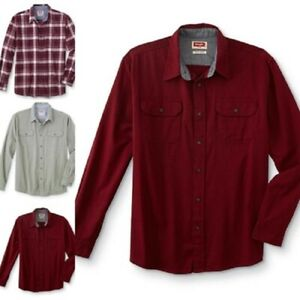 Wrangler Men's Long Sleeve Stretch Twill Shirt Relaxed Fit NWT Solid or Plaid