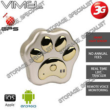 3G Gps Tracker Gold Pet Kids Anti Lost Theft Cat Dog Real Live Time Free Web