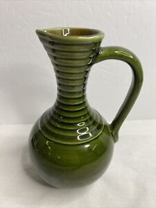 """Vintage Green Pottery Z87513 S Marking Water Pitcher Approx: 8-1/4"""" Tall USA ?"""