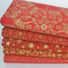 Rouge & Or 5 Pièce Noël Thème Tissu Bundle 100% tissu de coton (No 7)