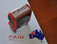 Brand New Paid Date Stamp - Self Inking Rubber Stamp Red ink 37mm*13mm