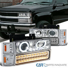 94-98 C10 Silverado Pickup Chrome Projector Headlights+LED Bumper+Corner Lamps