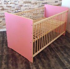 lit bébé à barreaux enfant set complet 60x120 CONVERTIBLE ROSE BLANC gravure