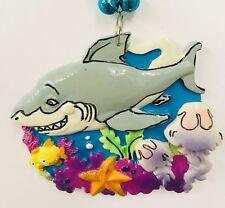Mardi Gras Bead Necklace Large Emblem Cartoon Shark Louisiana 18 Inches Sea Blue