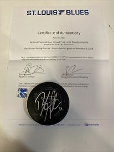 Game Used Goal Puck BRENDAN PERLINI SIGNED AUTOGRAPHED ARIZONA COYOTES OEL Asst