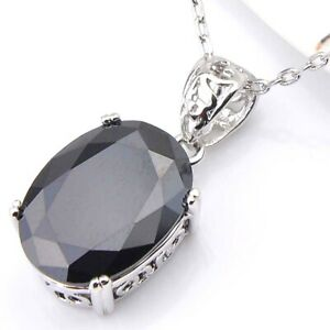 Silver Huge Oval Shaped Black Onyx Agate Gemstone Necklace Pendant 1 Inch