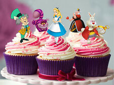 12 STAND UP ALICE IN WONDERLAND EDIBLE CUPCAKE CUP CAKE DECORATION IMAGE TOPPERS