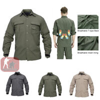Mens Long Sleeve Shirts Quick Drying Shirt Army Military Hiking Casual Outdoor