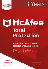 McAfee Total Protection 2018 2017 3 Years License Unlimited Devices Subscription