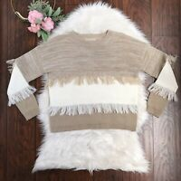 Moon River Size S Tan & Ivory Color Block Fringe Hem Pull Over Acrylic Sweater
