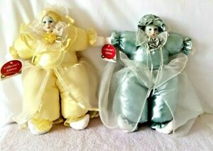 "Vtg Lot of 2 Collector's Ed Mardi Gras Renaissance Jester Plush 16"" Clown Dolls"