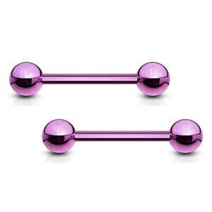 PAIR Purple Titanium Nipple Barbells Tongue Rings 14g - choose your length