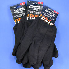 GLOVES TRUE GRIP ALL PURPOSE BROWN JERSEY 4 PAIRS LARGE UTILITY LIGHT DUTY