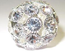 Rhinestone Ball Bead Round 30mm dia Big Clear Crystal Large hole size 6mm