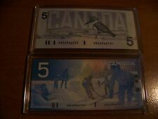 CANADA 5 DOLLARS 1986 and 2002 UNICIRCULATED WITH SOME SERIAL #   Rare