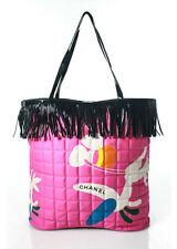 Chanel Pink Quilted Cotton Black PVC Fringe Tote Bag