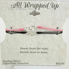 ALL WRAPPED UP Sisters BLACK & PINK BRACELETS Heart Round STERLING SILVER Accent