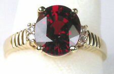 Stunning Oval Cut  Red Spessartite Garnet & Diamond Ring in14K Yellow Gold