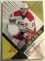 2016-17 Sebastian Aho SP Game Used Gold Material #136 Authentic Rookies #/399
